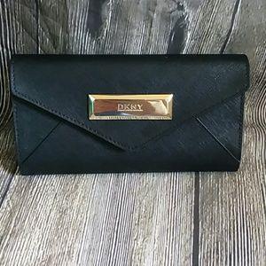 Handbags - DKNY Black Enveleope Wallet Clutch
